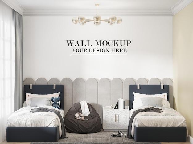 Fondo de pared de dormitorio doble de diseño moderno en escena 3d