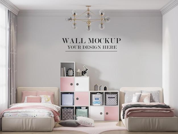 Fondo de pared de habitación infantil con cama doble en representación 3d