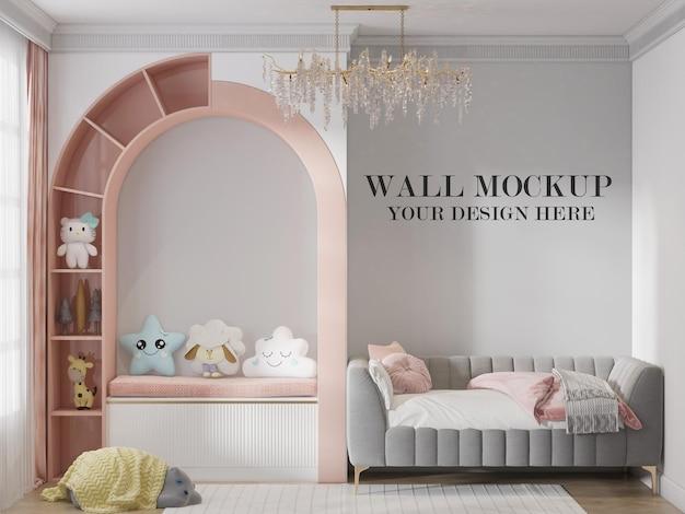Fondo de pared de habitación infantil para sus texturas en 3d. PSD Premium