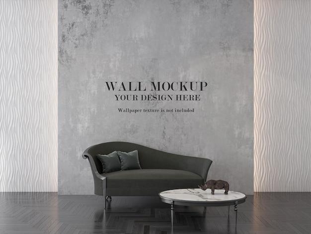 Fondo de pared en interior con sofá chaise longue
