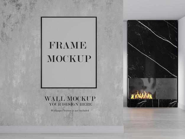 Fondo de pared y marco de imagen en blanco