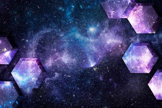 Fondo de patrón de hexágono de arte de papel de galaxia