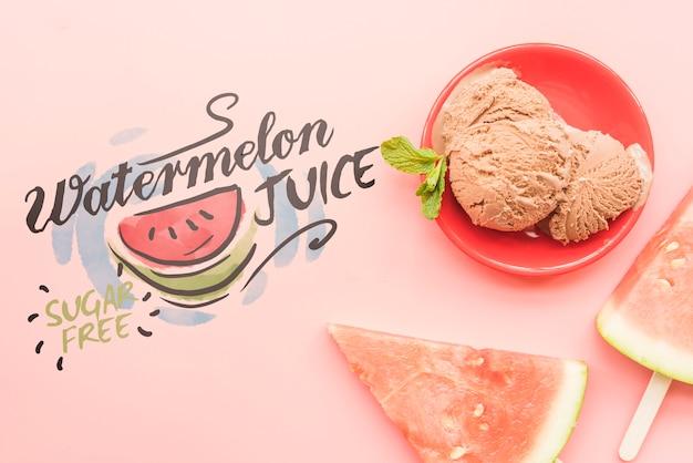 Fondo piatto estate laici con frutti esotici