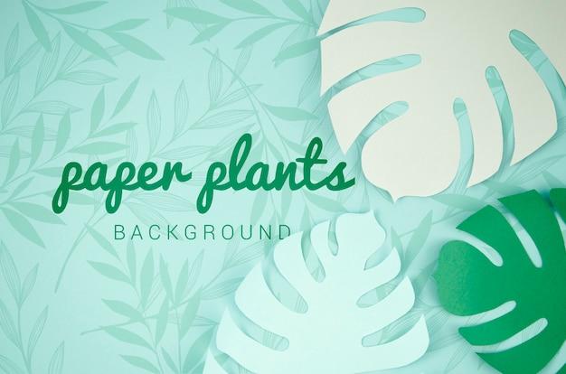 Fondo de plantas de papel con hojas de monstera