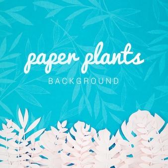 Fondo de plantas de papel con hojas tropicales