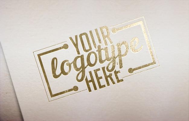 Fondo de plantilla de logotipo dorado blanco