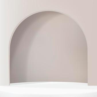 Fondo de producto de arco 3d psd en estilo simple marrón