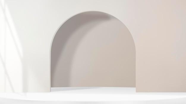 Fondo de producto de arco 3d psd con sombra de ventana en tono marrón