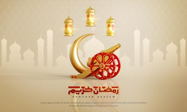 Fondo de saludo islámico de ramadán kareem con luna creciente, cañón, linterna y patrón árabe y caligrafía