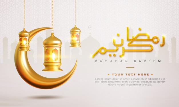 Fondo de saludo islámico de ramadán kareem con luna creciente, linterna y patrón árabe y caligrafía