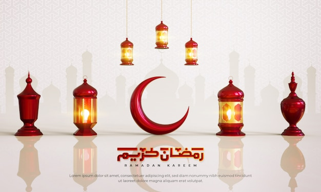 Fondo de saludo islámico de ramadán kareem con luna creciente, linterna, trofeo y patrón árabe y caligrafía