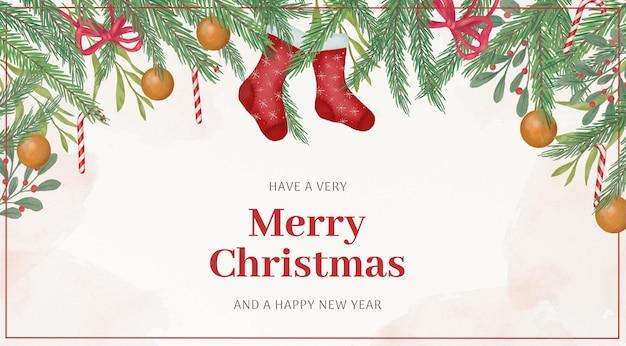 Fondo de saludo de navidad en acuarela
