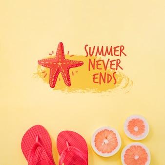 Fondo con tipografía de verano con fruta