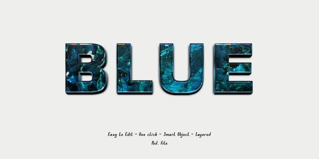 Fonte di effetto 3d con texture pennello blu