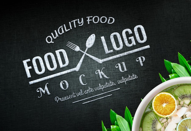 Food logo mockup vegan logo food background food logo design vegan