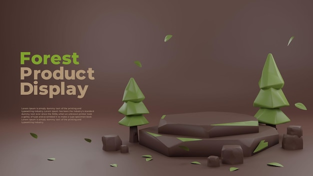 Forest nature clay 3d realistisch podium productpromodisplay