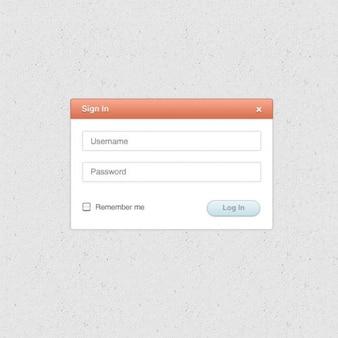Form di accesso web con nome utente e password