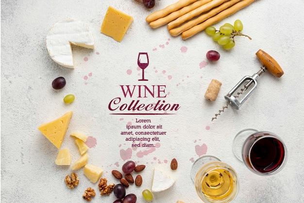 Forma de círculo de queso y vino
