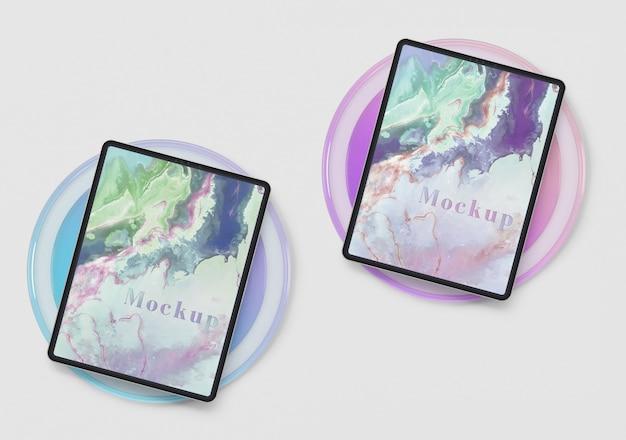 Forma de círculo de vidrio transparente con tabletas