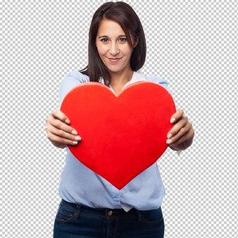 Forma de corazón de mujer joven fresca