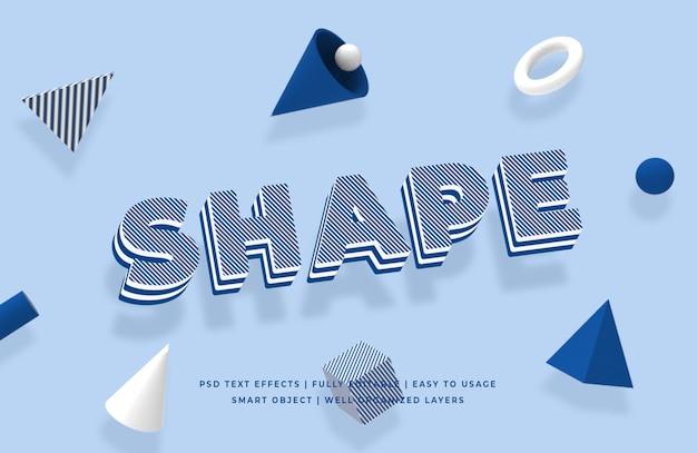 Forma forma geométrica estilo de texto en 3d maqueta de efecto
