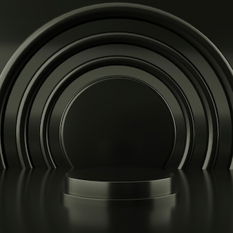 Forma geométrica de color negro abstracto, minimalista moderno para visualización o exhibición de podio, representación 3d