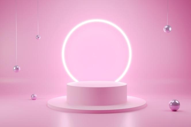 Forma geométrica podio minimalista escena interior 3d con color editable