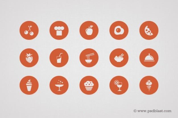 Forma icone alimentari in psd
