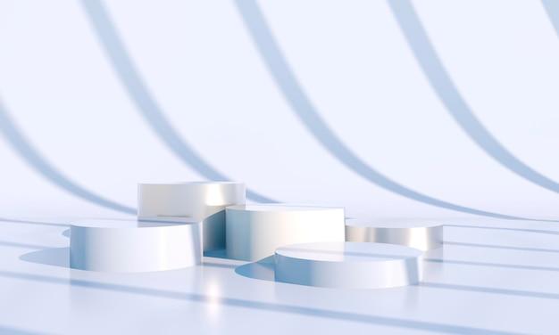 Formas geométricas con podio en el suelo.
