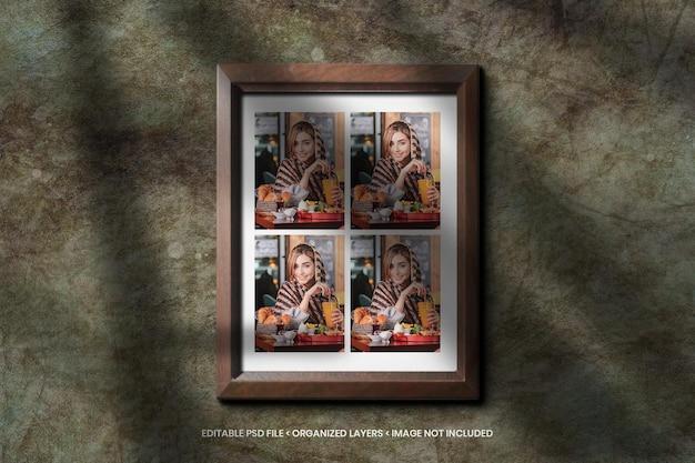 Foto college mockup met houten frame