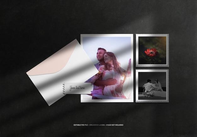 Fotocollege met envelop en schaduwoverlay
