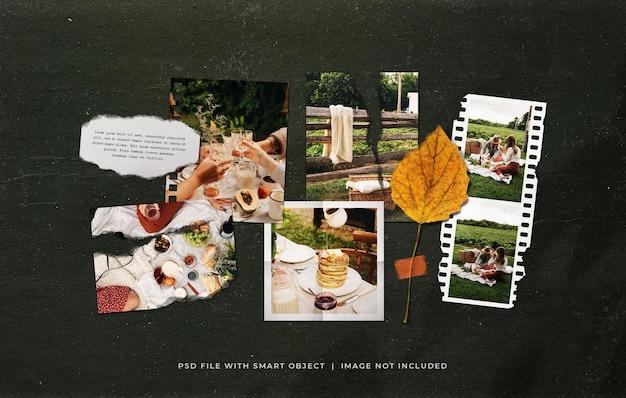 Fotofilmframes foto mood board mockup met getapet blad