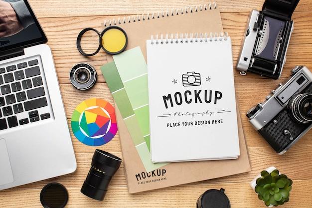 Fotograafworkshop met mock-up notebook