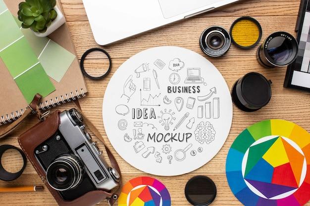 Fotograafworkshop met ronde mock-up