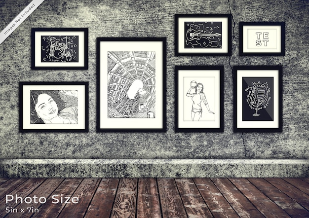 Fotolijst-collectie in een 3d grunge-kamer
