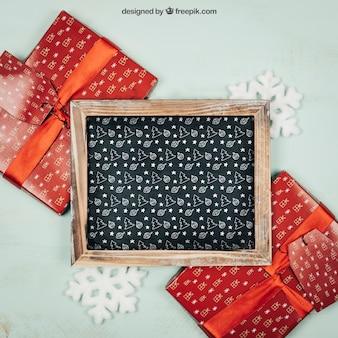 Fotolijst en geschenkdoosmodel met christmtas-ontwerp