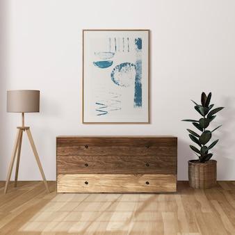 Fotolijst mockup hangend in japandi woonkamer interieur interieur