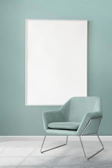 Fotolijst mockup psd hangend in een moderne luxe woonkamer
