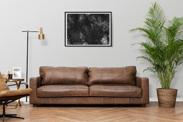 Fotolijst mockup psd in een woonkamer in luxe industriële stijl