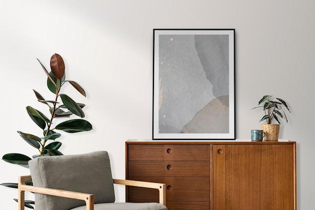 Fotolijst mockup psd op een retro dressoir