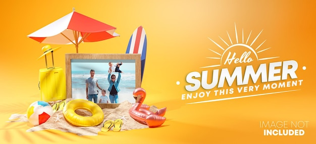 Fotolijst mockup zomer ontwerp 3d-rendering