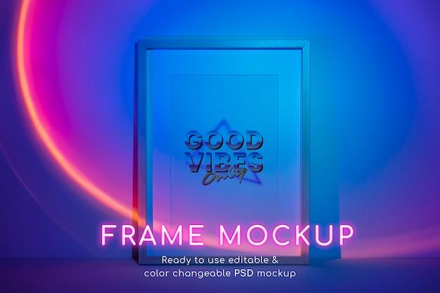 Fotolijst psd-mockup met blauwe retro-futuristische stijl