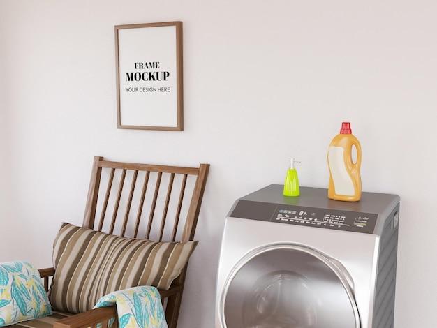 Fotolijst realistisch mockup in de wasruimte