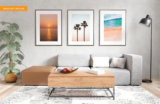 Fotolijst voor mockup in woonkamer 3d render