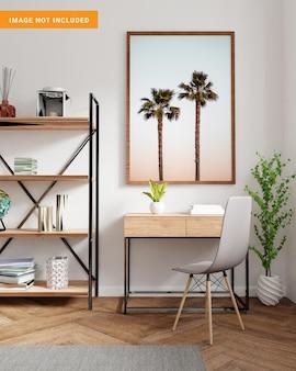 Fotolijst voor mockup in woonkamer 3d-rendering
