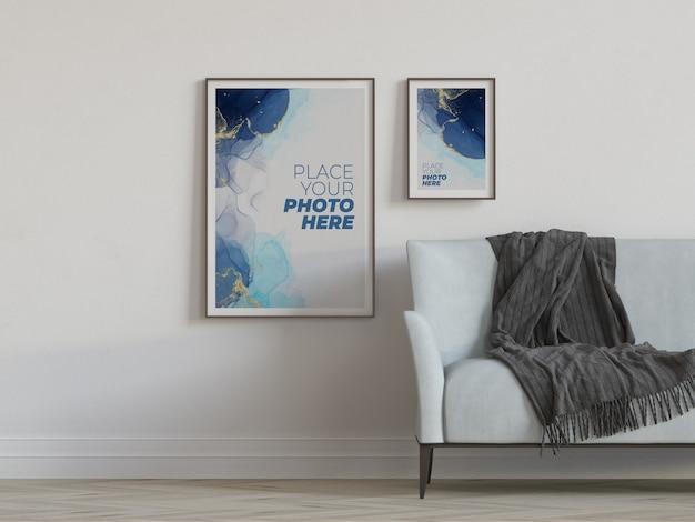 Fotolijsten mockup in de woonkamer