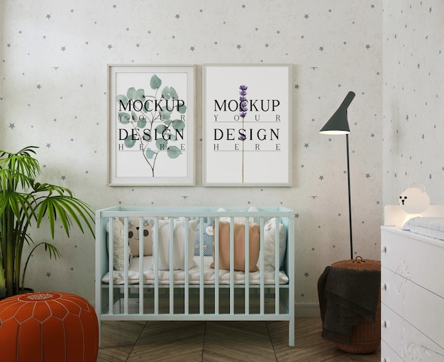 Fotolijsten mockup in moderne babykamer met bladerdeeg