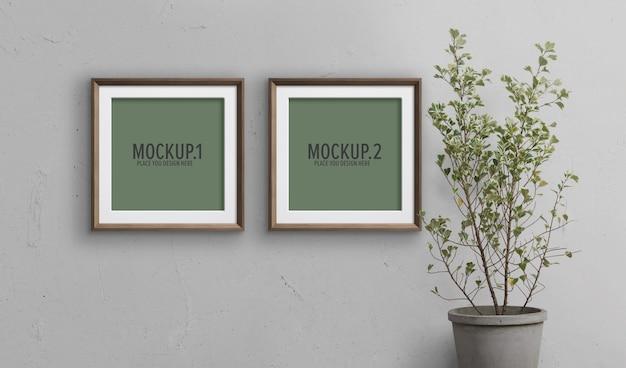 Fotolijsten mockup met potplant