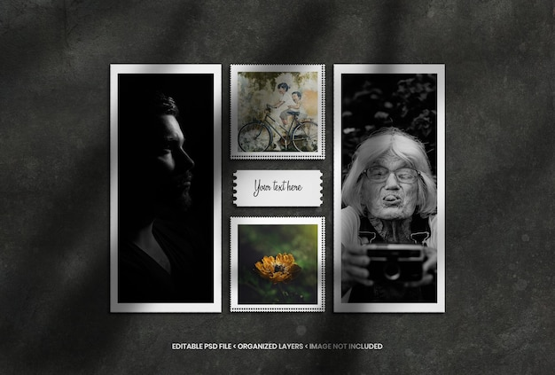 Fotolijsten mockup set met realistische schaduwoverlay