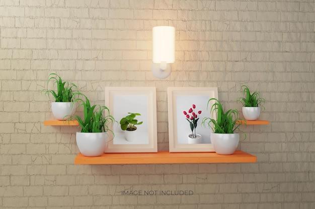 Fotolijsten of postermodel aan de muur met plant